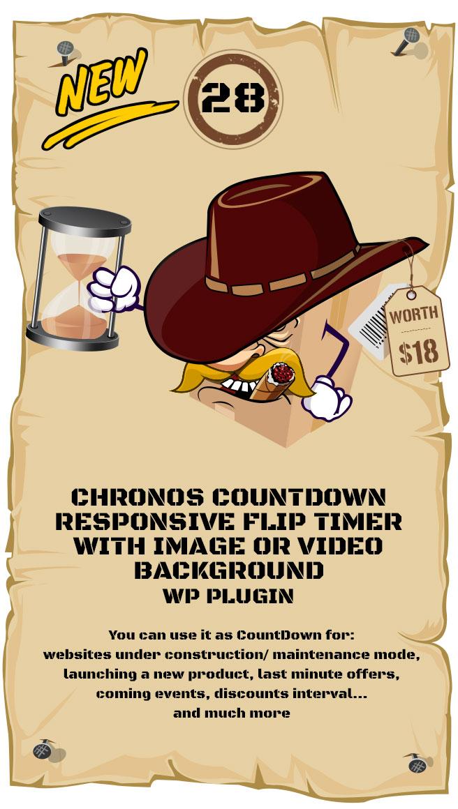 Chronos CountDown - Responsive Flip Timer With Image or Video Background - WordPress Plugin
