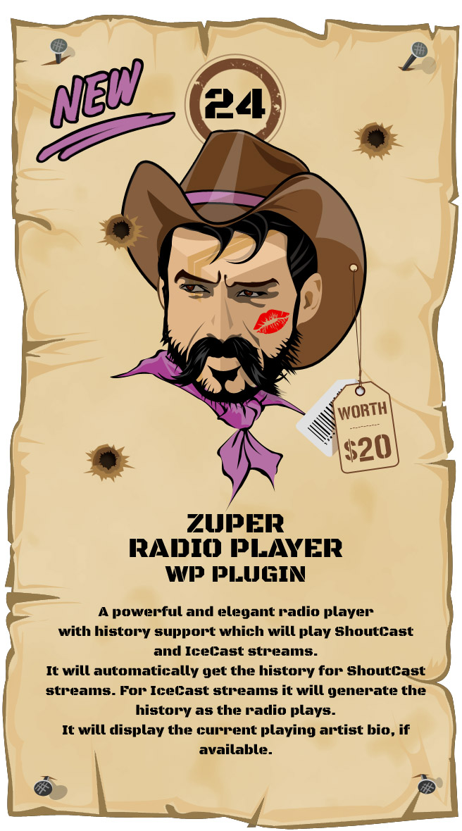 Zuper Radio Player - Shoutcast and Icecast Radio Player With History - WordPress Plugin