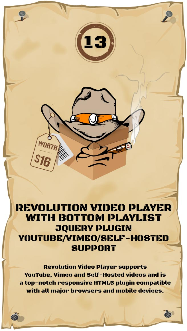 Revolution Video Player With Bottom Playlist Responsive Plugin - YouTube/Vimeo/Self-Hosted Support